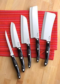 Proudly made in America, Cutco knives are The Best Knives you will ever own! They are rather pricey, but if anything ever goes wrong with one, even decades later, they will fix or replace it. Serious awesomesauce for the kitchen! Want 'em!