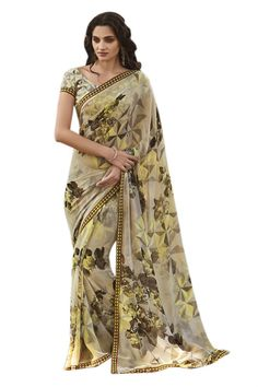 Beige Printed Georgette Saree with Raw Silk Blouse