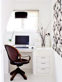 A simple clean home office can fit in a well designed space like this one. The almost white walls really bring it together. Office Nook, Home Office Space, Small Office, Home Office Design, House Design, Desk Office, Bright Office, Desk Space, Office Designs