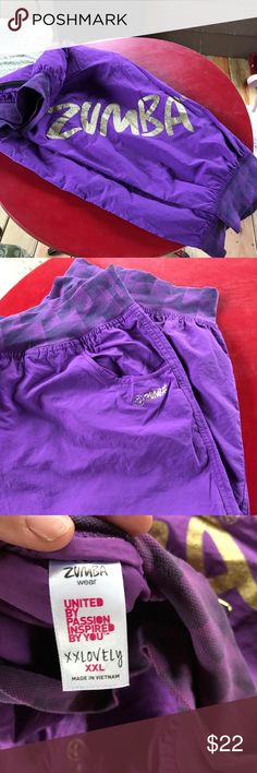 Plus Zumba cargo capris Price Drop Zumba cargo capris purple and size XXL ! Smoke free home ! This is the new sizing do does run larger ! Zumba Fitness Pants Capris