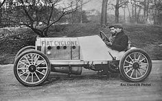 The Nine Lives of the Fiat Cyclone Racing Car: Racing driver Emanuel Cedrino is seen here behind the wheel of the Fiat Cyclone circa 1908. Learn about the long life and the rebuilds of this famous car at: http://theoldmotor.com/?p=138741