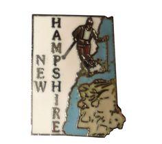 vintage NEW HAMPSHIRE STATE lapel cloisonne enamel pin landscape Mafco ski skiing