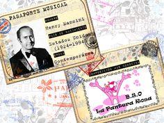 Juego musical para niños con tarjetas tipo pasaporte de compositores y sus obras más populares.