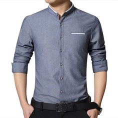 Designer Autumn Winter Long-sleeved Ventilated Solid Color Linen Cotton Leisure Dress Shirts For Men - NewChic Mobile.