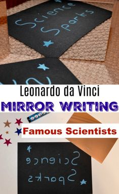 Leonardo da Vinci was an artist, scientist and inventor who lived between 1452 - He wrote his notes using a shorthand and also mirrored his writing. Science Experiments Kids, Science For Kids, Activities For Kids, Fun Science, Charles Darwin, Lessons For Kids, Projects For Kids, Leonardo Da Vinci Facts, Da Vinci Inventions