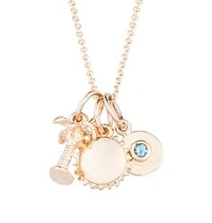 """A Helen Ficalora summer favorite: The """"Beach Retreat"""" Charm Necklace in 14k Yellow Gold."""