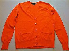 SOLD    Ralph Lauren Golf Women's Orange 100% Cotton Cardigan Sweater Size Small S
