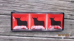 "Set of 3 glass small serving / Trinket Dish "" Bull Pasion""  Made in Spain #CasaRealdelaMoneda"