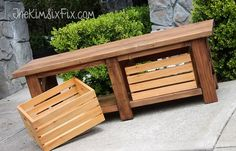 Rustic X-Leg Wooden Bench with Built-In Crate Storage made from simple 2x4s and 2x2s.  An EASY DIY project Total cost: Under $40  #TheKimSixFix