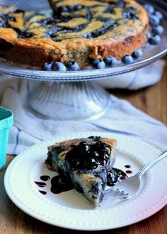 Paleo Blueberry Banana Swirl Cake with Homemade Blueberry Compote | From Bakerita.com