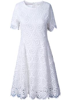 White Short Sleeves Floral Embroidery Back Zipper Dress