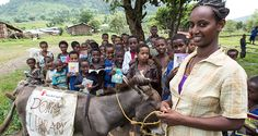 Birtukan Chebud runs a donkey library in Ethiopia's Amhara region. She sometimes travels as long as three hours to bring books to children i...