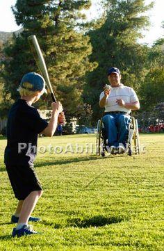 Jen Serena, Photographer adaptive-sport;ball;baseball;bat;child;disabled-sport;father;field;leisure;male;man;outdoor;outdoors;paraplegic;parkland;play;recreation;sport;sporting;sports;sun;sunset