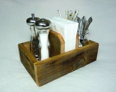 Rustic Napkin Holder and Condiment Caddy