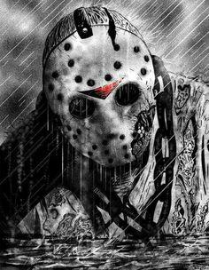 Friday the Jason Voorhees, Horror Art Slasher Movies, Horror Movie Characters, Horror Icons, Horror Films, Horror Posters, Jason Viernes 13, Arte Horror, Creepy Art, Friday The 13th