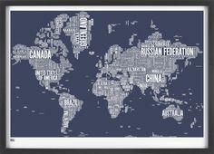 World Type Map in Sheer Slate - decorative screen print. $99.00, via Etsy.