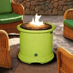 Lime green fire pit.