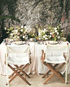 At this wedding in Thailand, strings of pearl offered vintage glamour to an otherwise modern tabletop. Wedding Reception Chairs, Wedding Chair Sashes, Wedding Chair Decorations, Wedding Table, Wedding Decor, Rustic Wedding, Diy Wedding, Wedding Ceremony, Wedding Ideas