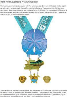 2016 Fort Lauderdale A1A Marathon and Half Marathon Medal Design