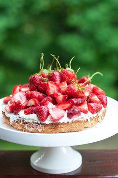 Strawberry Cake and Spinach & Cheese Pita