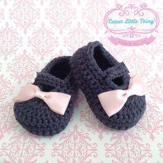Crochet Baby Booties Blue Crochet Booties por CutestlittleThing