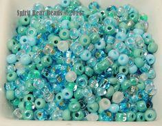 Caribbean Breeze Glass Blue Green Czech Glass by spiritbearbeads