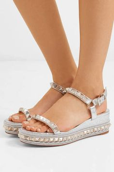 d7589db97bb2 Christian Louboutin - Pyraclou 60 spiked metallic textured-leather wedge  sandals