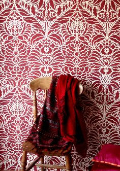 BeautifulIndian damask repeatstencil 1 sheet stencil TheIndian Floral Damask Stencilis an intricate oversize Indian repeat stencil for covering walls and fabrics with a beautiful continuous floral damask pattern. Use this large floral filigree stencil to create simply sumptuous effects on wall