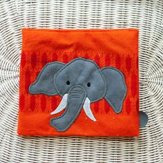 Elephant on orange and red Zipper Pouch Handmade in by Kuriosart
