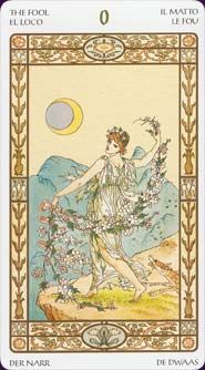 The Harmonious Tarot is pretty, light and flowery, like sitting in a rose garden on a sunny spring afternoon. The Tarot art, mostly by Victorian artist Walter Crane (with some additions by Fitzpatrick) is romantic, heavily floral, and quite easily readable.
