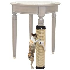 Jumbl Cat Scratcher Pad w/Attached 'Mouse Head' Toy Plaything - Made of Flexible Materials & Features Velcro Backing for Wrapping Around Table, Couch, Chair, Furniture Leg to Prevent Furniture Scratching