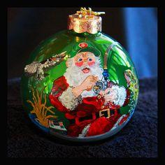 Hand Painted Ornament Santa Fishing-Item by reneesprettypainted