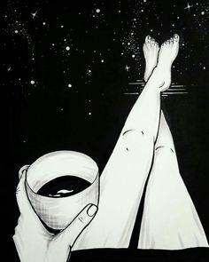 Just over here thinking 🎧 Art Sketches, Art Drawings, La Reverie, Black Paper Drawing, Art Diy, Coffee Drawing, Sad Art, Dark Wallpaper, Art Design