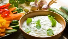 Tzatziki and Veggie Sticks Recipes: Opposites attract. Balance a spicy, hearty main with light, crisp veggie sticks and cool Greek-style tzatziki dip. Oetker's deletable and delicious recipes Hcg Recipes, Dairy Free Recipes, Diabetic Recipes, Cooking Recipes, Healthy Recipes, Gluten Free, Cooking Sauces, Greek Recipes, Gourmet Recipes