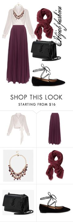 """Untitled #19"" by dzenitaavdic ❤ liked on Polyvore featuring Halston Heritage, Avenue, Banana Republic, Yves Saint Laurent and Gianvito Rossi"