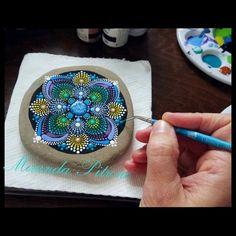 Hand Painted Mandala Stone by Miranda Pitrone ~ Dot Art ~ Mandala Painting~ Original Art ~ Home Deco