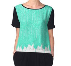 Women's Chiffon Top @redbubble Minted tribal feather pattern. Nature inspired. Mint in color. @redbubble #art #design #mint #feathers #design #pattern #redbubble #fashion #chiffon #shirt