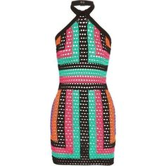 BALMAIN Crocheted mini halterneck dress (€580) ❤ liked on Polyvore featuring dresses, crochet dresses, multicolor dresses, snap dress, halter neckline dress and viscose dress #crochetdresses