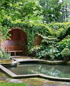 The sound shell and pond, inspired by the style of classic English architect Edwin Lutyens, are situated at the end of the rill; the water comes from the lake; a king fern nestles in the corner.