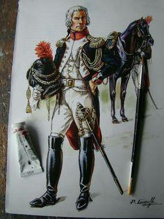 LE COLONEL MERLIN - COMMANDANT LES GRENADIERS A CHEVAL DE LA GARDE DU DIRECTOIRE, VERS 1798.