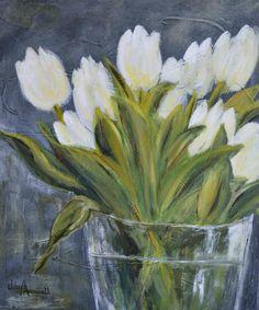 """""""Tulipes blanches"""" - Acrylique sur toile - Viviane Arsenault - VENDUE"""