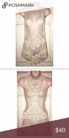 Hand made lace top NWOT. One size. Sheer lace, hand made. One of a kind. Brand listed for visibility Free People Tops