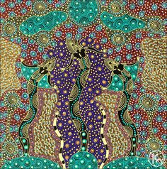 Dreamtime Sisters by Colleen Wallace Nungari from Utopia, Central Australia created a 69 x 70 cm Acrylic on Canvas painting SOLD at the Aboriginal Art Store Aboriginal Art Dot Painting, Painting Art, Abstract Art, Paintings, Indigenous Australian Art, Indigenous Art, Magic Design, New Media Art, Celtic Art