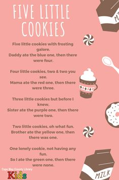 A sweet treat for storytime! A fun counting rhyme for food & dessert themes! Head over the the #CMCLKids blog for more rhymes, songs, and lap bounces! #Storytime #EarlyLiteracy #Library #Programming #Rhymes #ActionRhyme #LibraryProgram #KidsEvents #KidsSongs #ChildrensMusic #LibraryLife Counting Rhymes, Counting Songs, Songs For Toddlers, Children Songs, Preschool Songs, Preschool Activities, Elementary Music, Montessori Elementary, Elementary Teaching