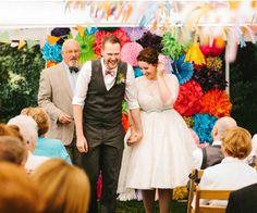 village hall wedding ceremony bride and groom