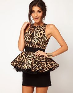 Miss Francesca Couture Leopard Peplum Tutu Dress at asos.com