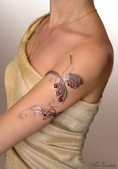 upper arm cuff bird jewelry wedding jewelry by AlenaStavtseva Cuff Jewelry, Anklet Jewelry, Bird Jewelry, Copper Jewelry, Wire Wrapped Jewelry, Unique Jewelry, Anklets, Butterfly Jewelry, Butterfly Hair
