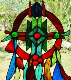 INSPIRED AMERICAN INDIAN DREAMCATCHER Stained Glass suncatcher CHRISTMAS GIFTS $129