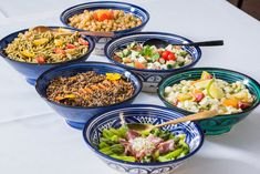 Assortment of organic salads, pasta with green pest, oriental lentil, greek salad with feta, green aspargus /// Assortiment de salades bio, pates au pest vert, lentilles à l'orientale, salades grecque à la feta, asperges vertes Bio, Feta, Oriental, Asparagus, Salads, Lentils