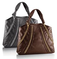 "Chain Link Tote Chic chain embellishments add style—not weight. Faux leather. 20"" L x 4 1/2"" W x 13 1/2"" H (8"" handle drop). gray, chocolate brown Save 58%. Just $19.99"